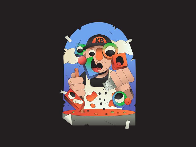 Kenny Beats sticker illustrator illustration abstract rap music cooking chef