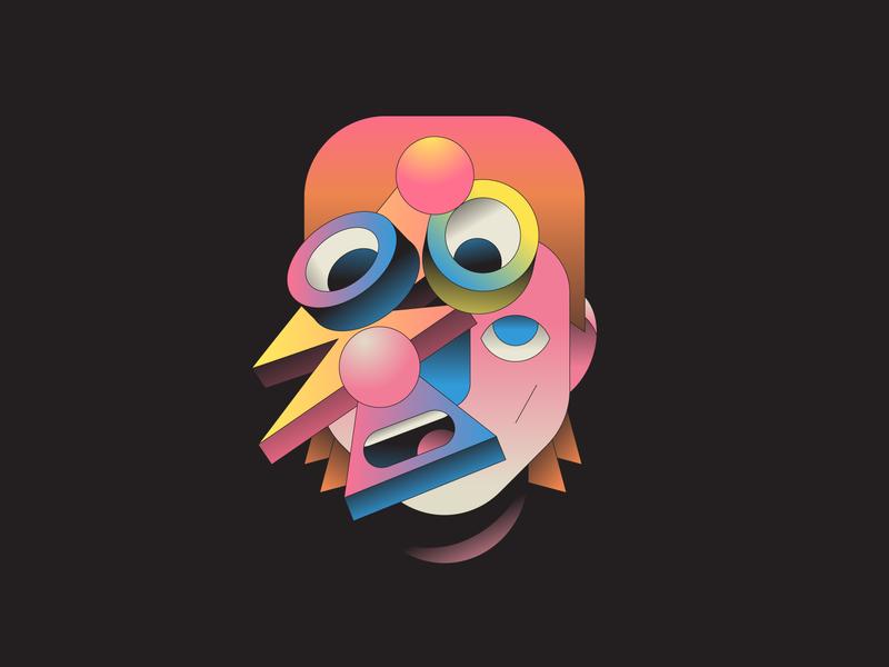 Starman illustrator gradient 3d illustration artist music bowie