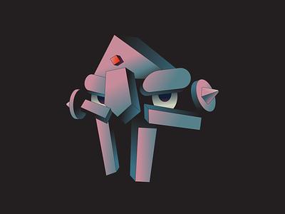 Villain gradient 3d shape isometric mask cartoon abstract illustrator music illustration rap