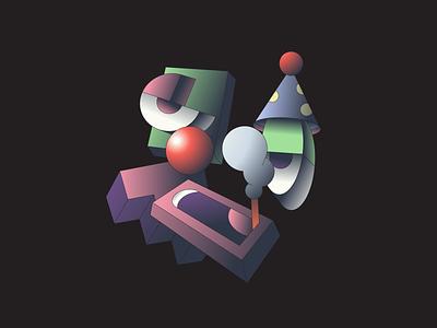 Clown illustration illustrator isometric clown