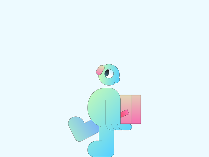 Moving character design character illustrator gradient illustration