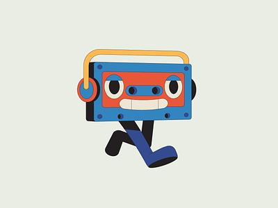 Cassette vhs tape music illustration illustrator mascot character design character