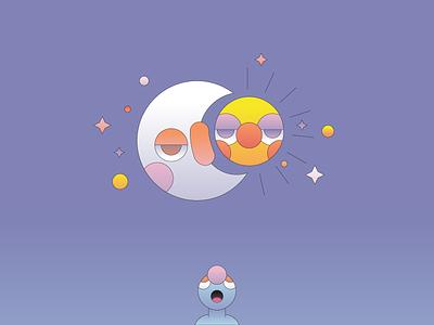 Day and Night flat illustration illustrator moon sun