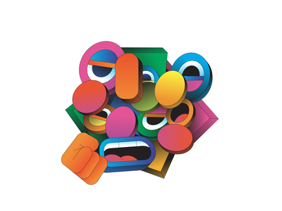 Cracked gradient colour shape isometric illustration illustrator