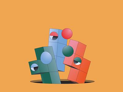 Tetris gradient monoline 3d shape game gaming isometric