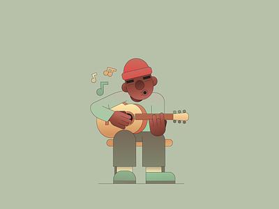 Brazil instrument editorial musician gradient flat illustration illustrator music guitar