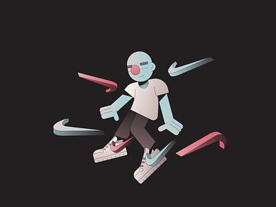 Float gradient sport nike motion jump characterdesign character illustration floating