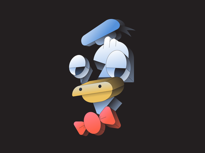 Duck isometric illustrator gradient illustration donald goofy mickey disney