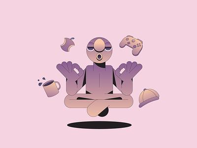 Breathe gradient illustration illustrator self care mental health relax meditate meditation yoga mindfulness