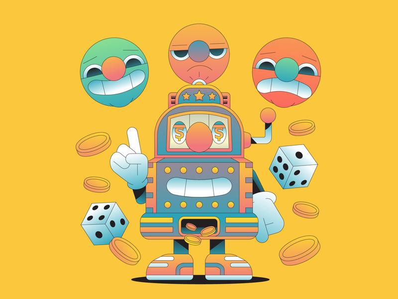 Gambler gradient illustrator vector illustration coins vegas dice emotion addiction money gamble