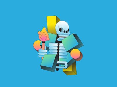Life 3d isometric torch fire illustration illustrator gradient skeleton skull