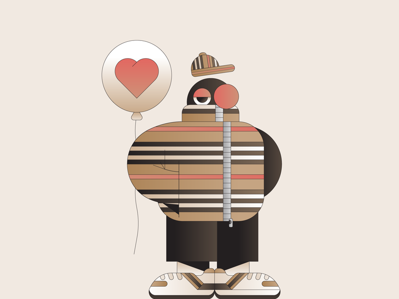 Burberry gradient mascot illustration illustrator characterdesign brand character fashion clothing