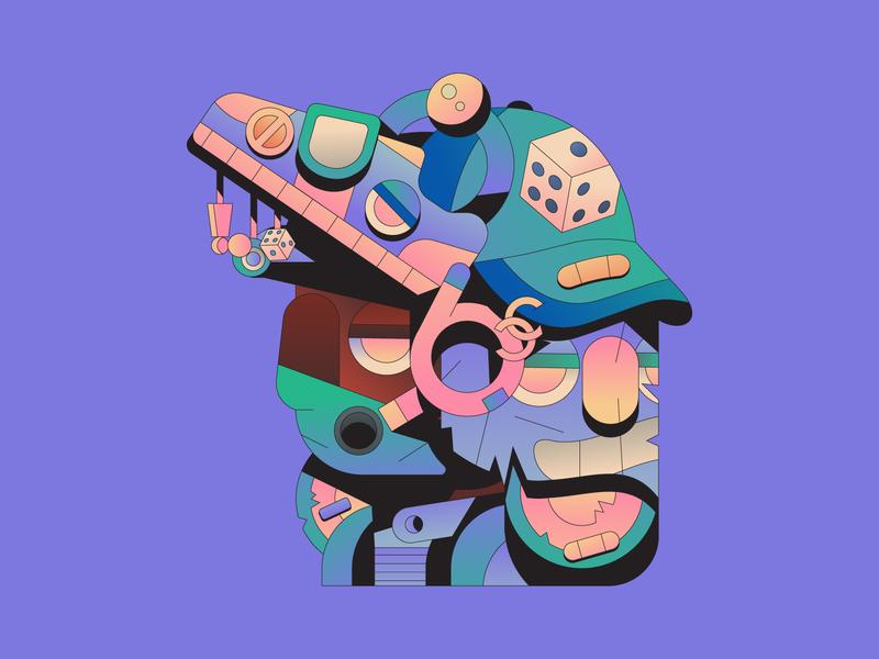 Spaceship face hat shoe apocalypse abstract gradient characterdesign character illustration illustrator