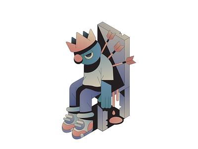 Throne characterdesign gradient character crown throne arrow king