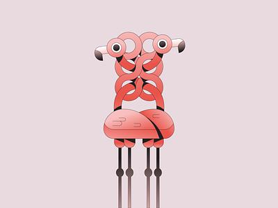 Knot mascot character simple gradient minimal flat branding illustrator illustration bird flamingo animal