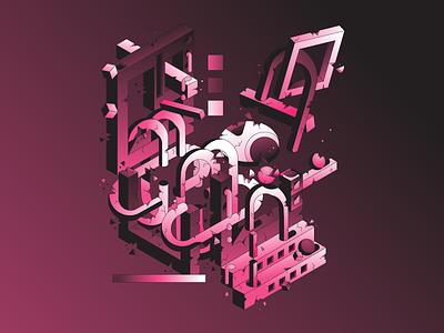 Skeleton shape building architecture structure isometric skull skeleton character simple gradient logo minimal flat illustrator illustration