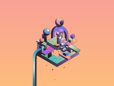 Home isometric space abstract character simple gradient minimal flat illustrator illustration
