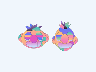 Bert and Ernie icon abstract character simple badge gradient minimal flat illustrator illustration