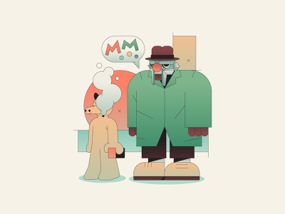 Madvillain rapper rap mf doom music brand mascot abstract character branding simple minimal flat illustrator illustration