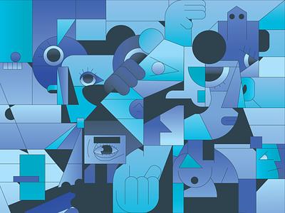 Gathering icon mascot logo abstract character simple gradient minimal flat illustrator illustration
