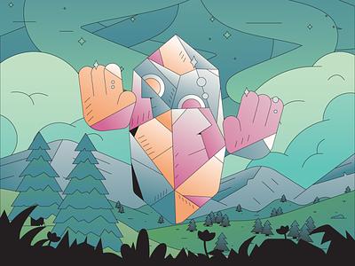 Crystal Man abstract badge branding character simple gradient minimal flat illustrator illustration