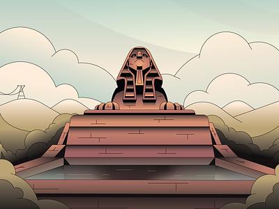 Sphinx logo abstract badge branding character simple gradient minimal flat illustrator illustration