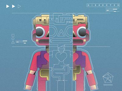 Dissected character simple gradient minimal flat illustrator illustration