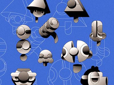Strange Heads abstract branding character simple gradient minimal flat illustrator illustration