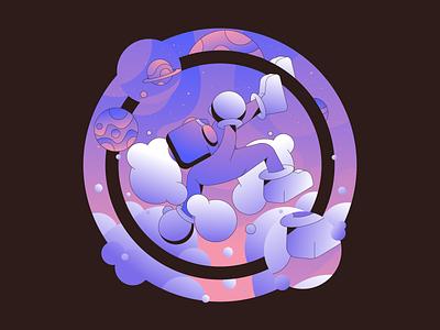 Purple Falls vector abstract character simple gradient flat minimal illustrator illustration
