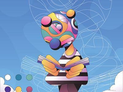 Reading Colour character simple flat gradient minimal illustrator illustration