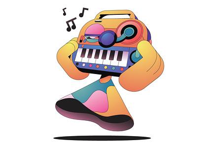The Musician character simple flat gradient minimal illustrator illustration