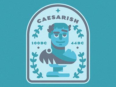 Not Quite Caesar character design illustration cartoon vintage badge wreath zeus greek spartan roman statue