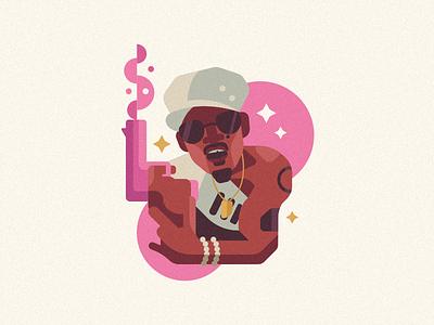 Andre 3000 illustration flat rappers rock pop drake kanye big boi outkast music andre 3000 rapper