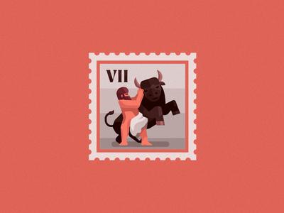 Hercules' and the Cretan Bull man badges logo cow warrior spartan roman greek myth flat stamp bull hercules