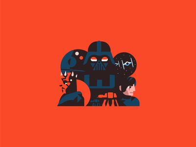 The Dark Side mandalorian mando boba palpatine kylo darth vader flat illustration flat hansolo deathstar atat skywalker kyloren darthmaul darthvader star wars