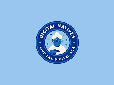 Digital Natives Second Icon simple flat lady woman grandpa nanny grandmother grandma elderly patch badge logo badge