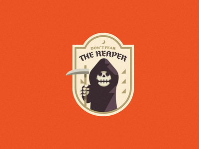 Don't Fear The Reaper halloween grim reaper reaper logo simple logo simple skull logo patch badge skeleton skull