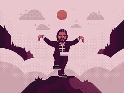 Kung Fu Kenny warrior samurai ninja mystic cloud sky blue mountain music hiphop rappers rapper kendrick karate kung fu