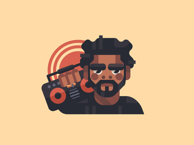 J. Cole boombox radio sun man artist tupac kanye music rapper j cole flat branding illustration