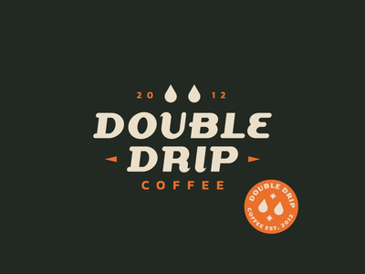 Double Drip coffee shop typography stamp lettering branding brand minimal vintage logo text logo brewery logo brewery brew coffee