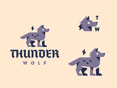Thunder Wolf brewery coffee brew flat minimal dog wolf logo lightening thunder