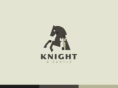 Knight & Castle minimal icon logo badge horse logo animal game chess castle horse knight