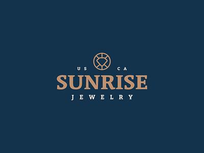 Sunrise Jewelry sun gold stone gem diamond icon branding brand mark logo