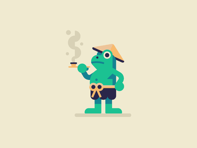 Frog characterdesign character fish shape japanese japan toad frog geometric geometry