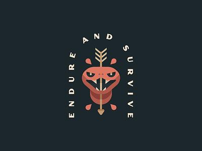 Endure And Survive minimal illustration mark logo snake logo animal blood arrow viper snake tattoo traditional