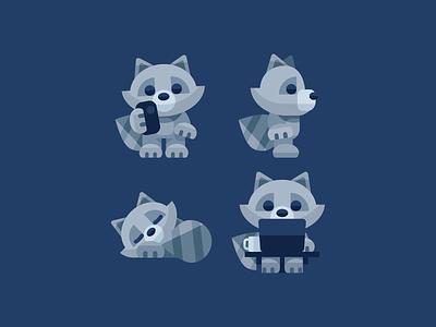 Raccoon Poses geometric minimal phone office computer character cute animal racoon raccoon