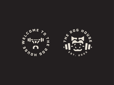 Dog House wolf illustration logo stamp badge gym logo minimal exercise fitness olympic weights power strength crossfit gym dog