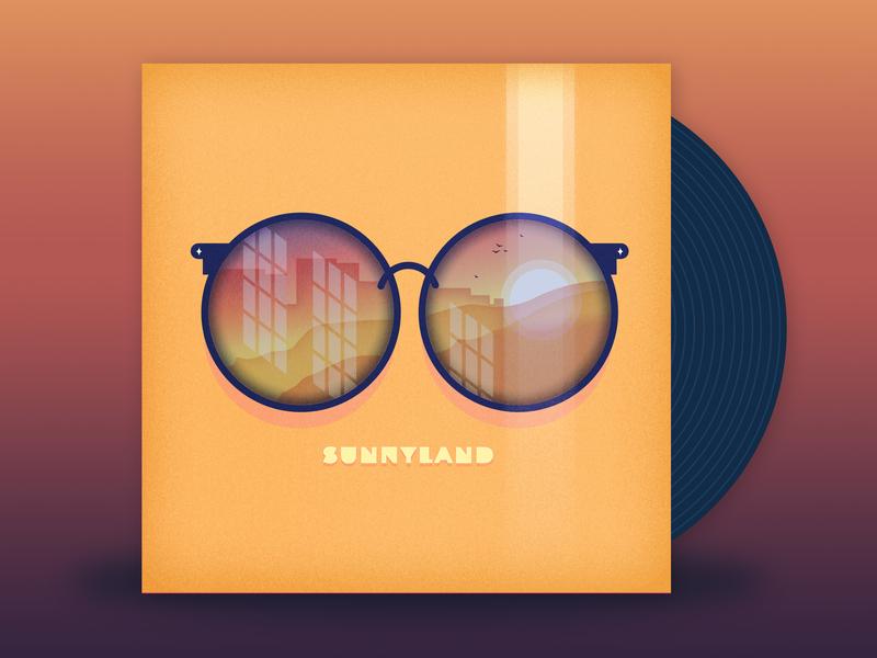 Sunnyland - Mayday Parade music illustration sunglasses reflections sunset gradients palette vector sunnyland mayday parade album cover vinyl art