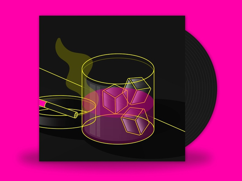 May // Just Getting By - Drew Thomas 2d whiskey on the rocks drinking bar smoking cigarettes whiskey pink minimalist illustration vector
