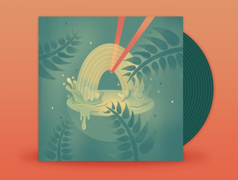 July // Maggie Rogers - Fallingwater palette design gradients illustration 2d flat procreate splash jungle waterfall ramen falling water maggie rodgers music art vinyl art vinyl cover music vinyl